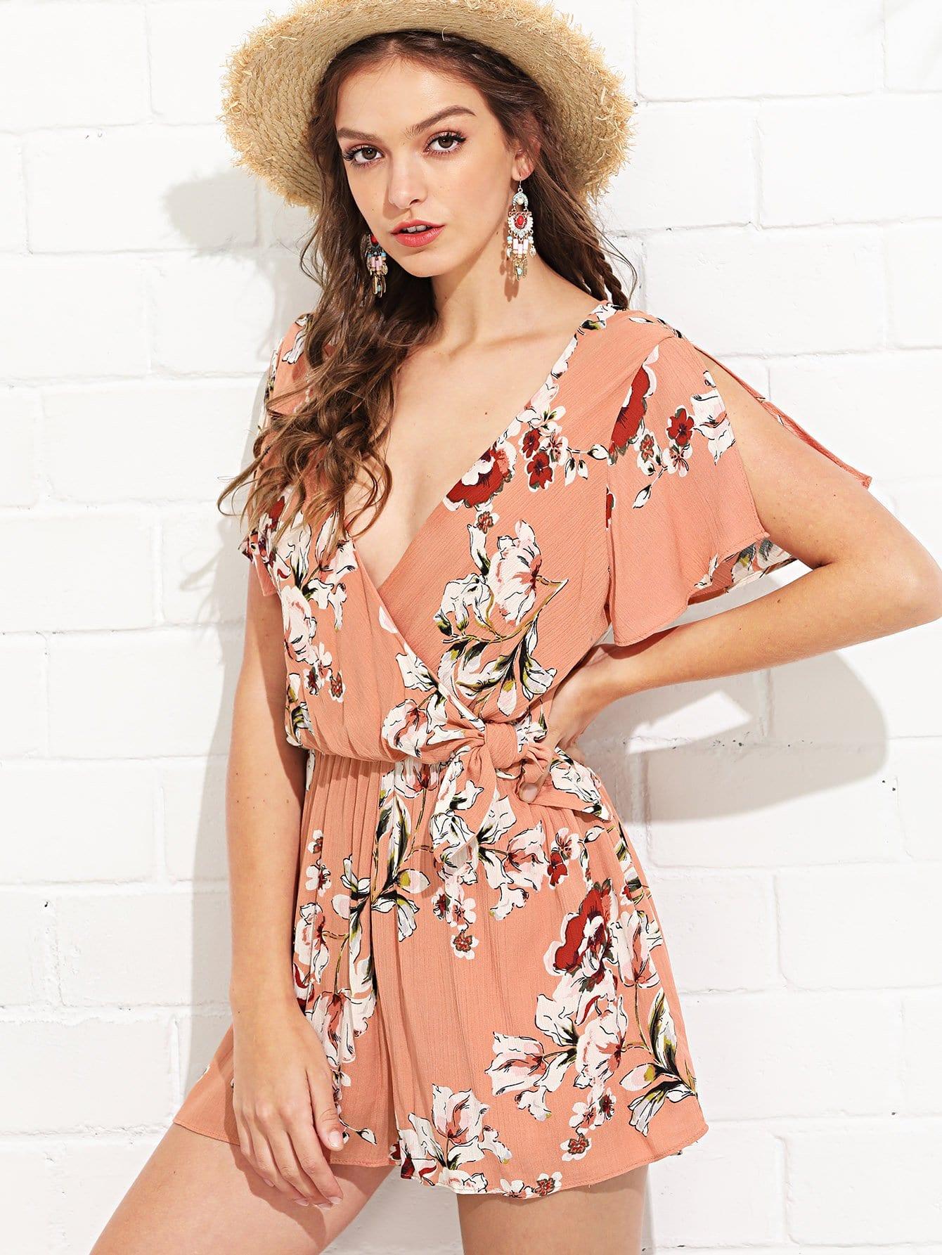 Knot Side Split Sleeve Floral Print Romper floral print split side dress