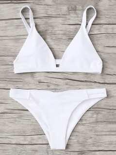 Caged Back Triangle Bikini Set
