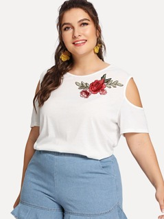 Plus Embroidered Flower Applique Cold Shoulder Tee