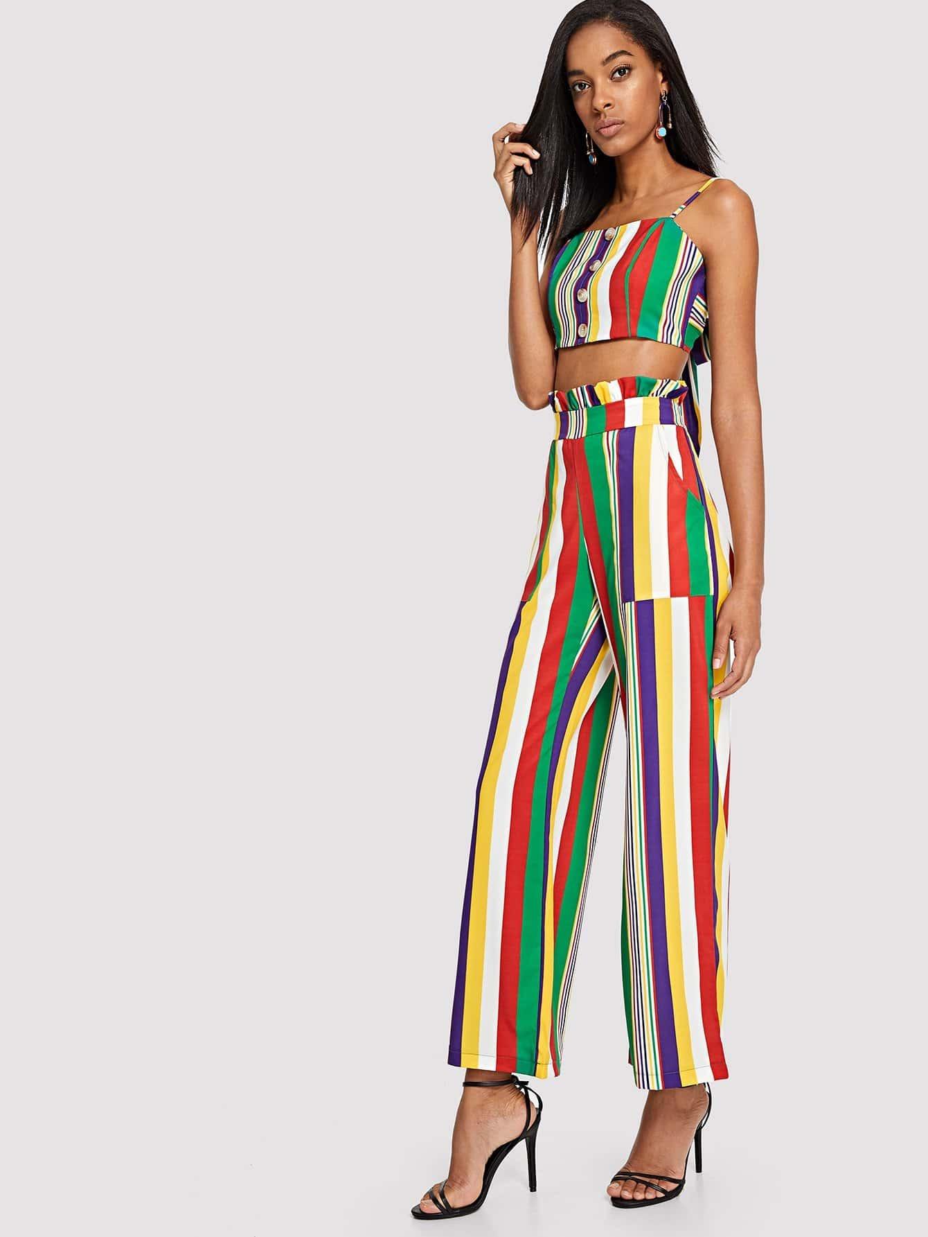Купить Полосатый Cami Top & Pants Co-Ord, Victoria, SheIn