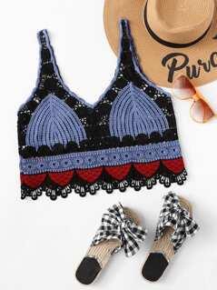 Eyelet Crochet Lace Semi Sheer Crop Top