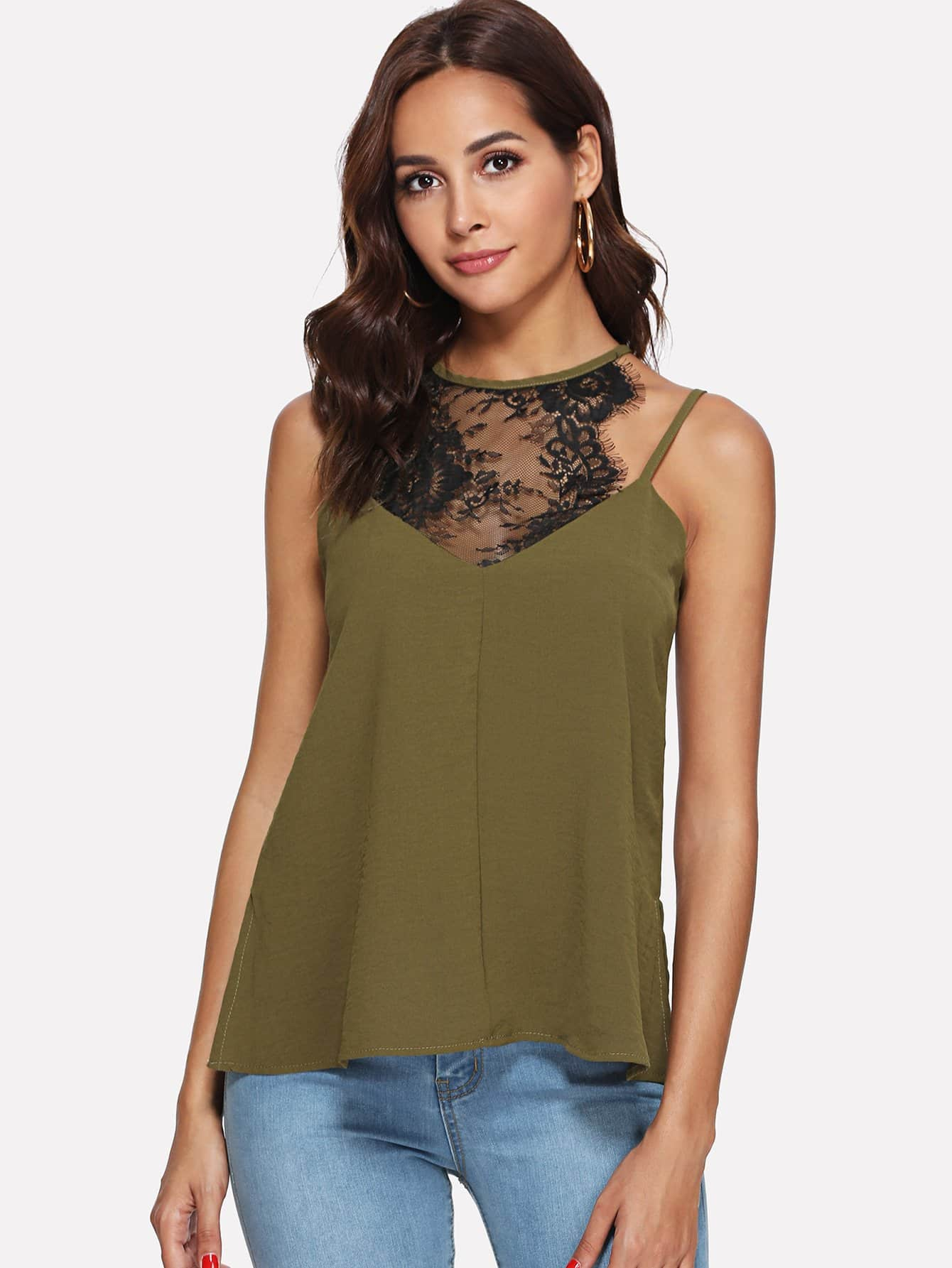 Lace Insert Cami Top lace insert solid top