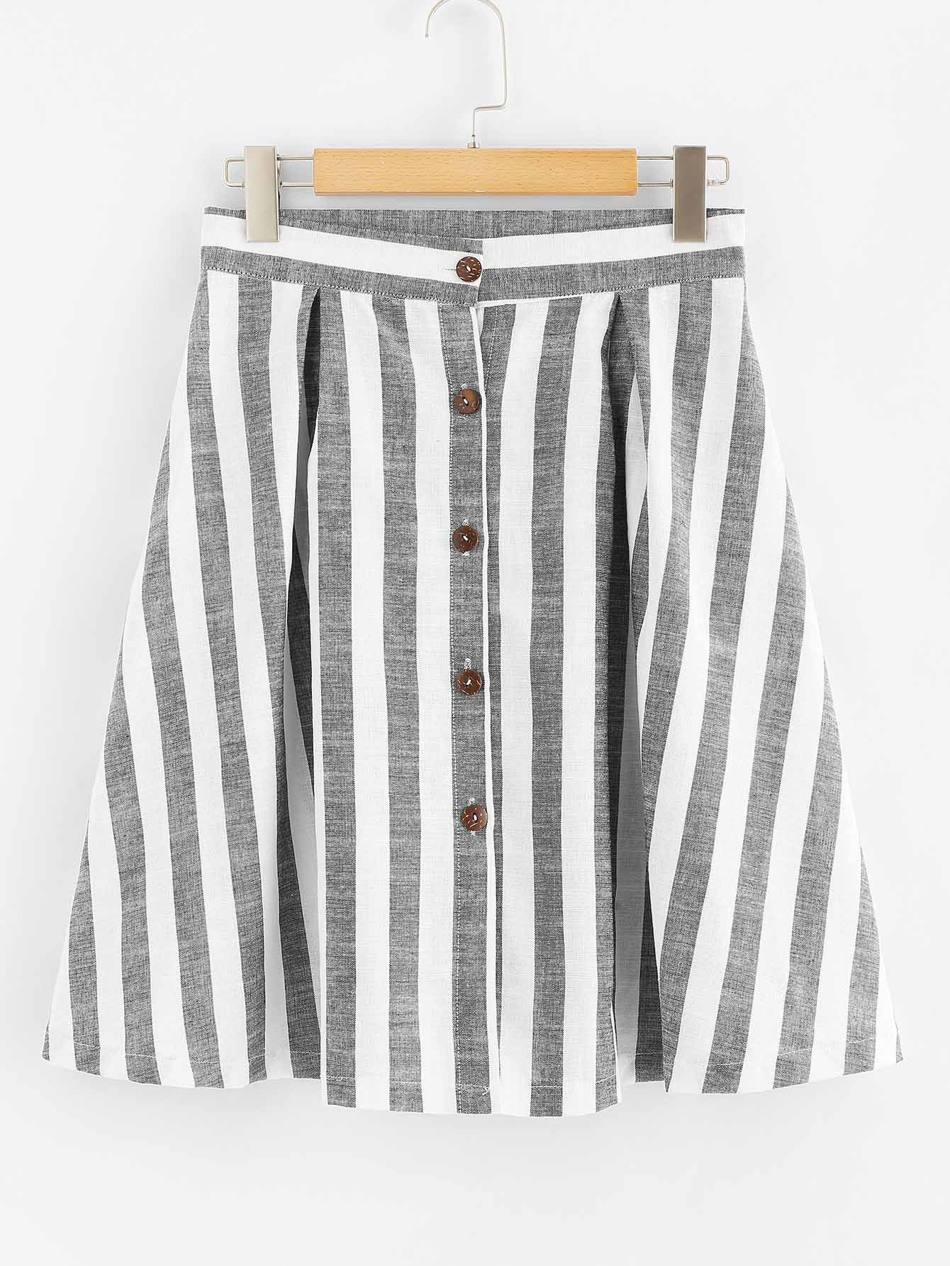 Single Breasted Striped Skirt