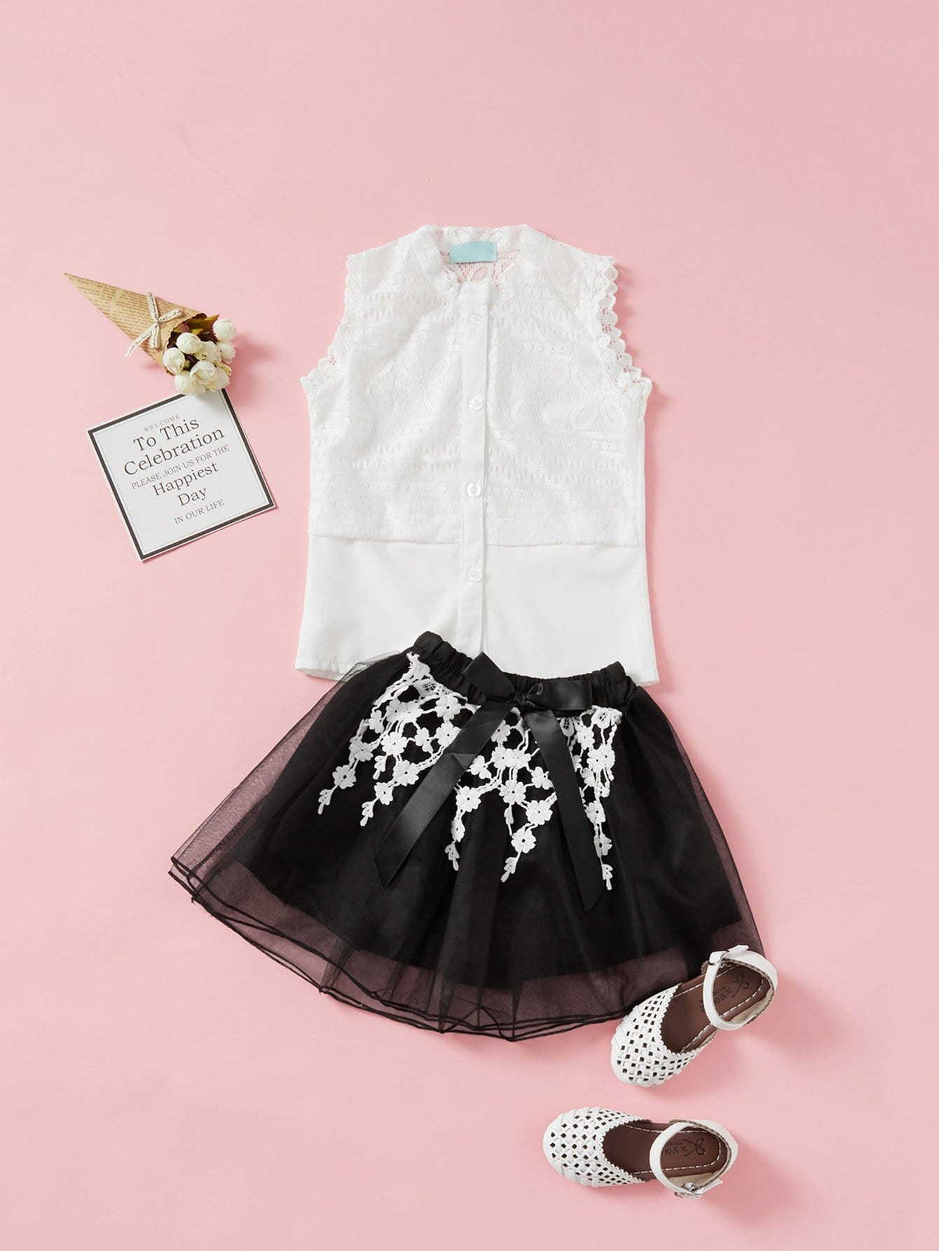 Girls Lace Top With Mesh Overlay Skirt white sleeveless mesh and lace overlay details playsuit
