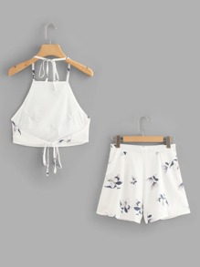 Floral Print Halter Top With Shorts