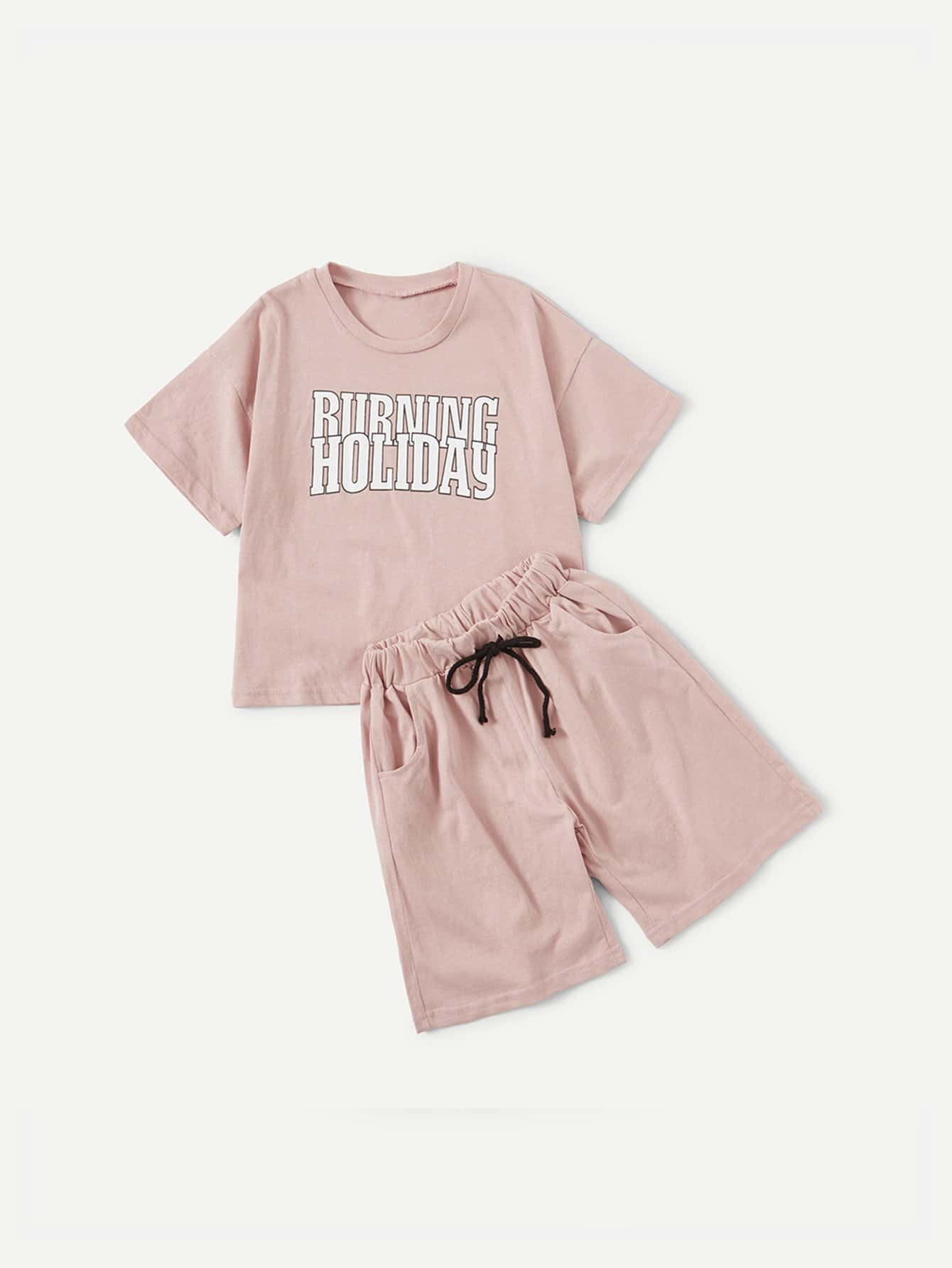 Kids Letter Print Tee With Drawstring Waist Shorts letter print hooded tee with shorts