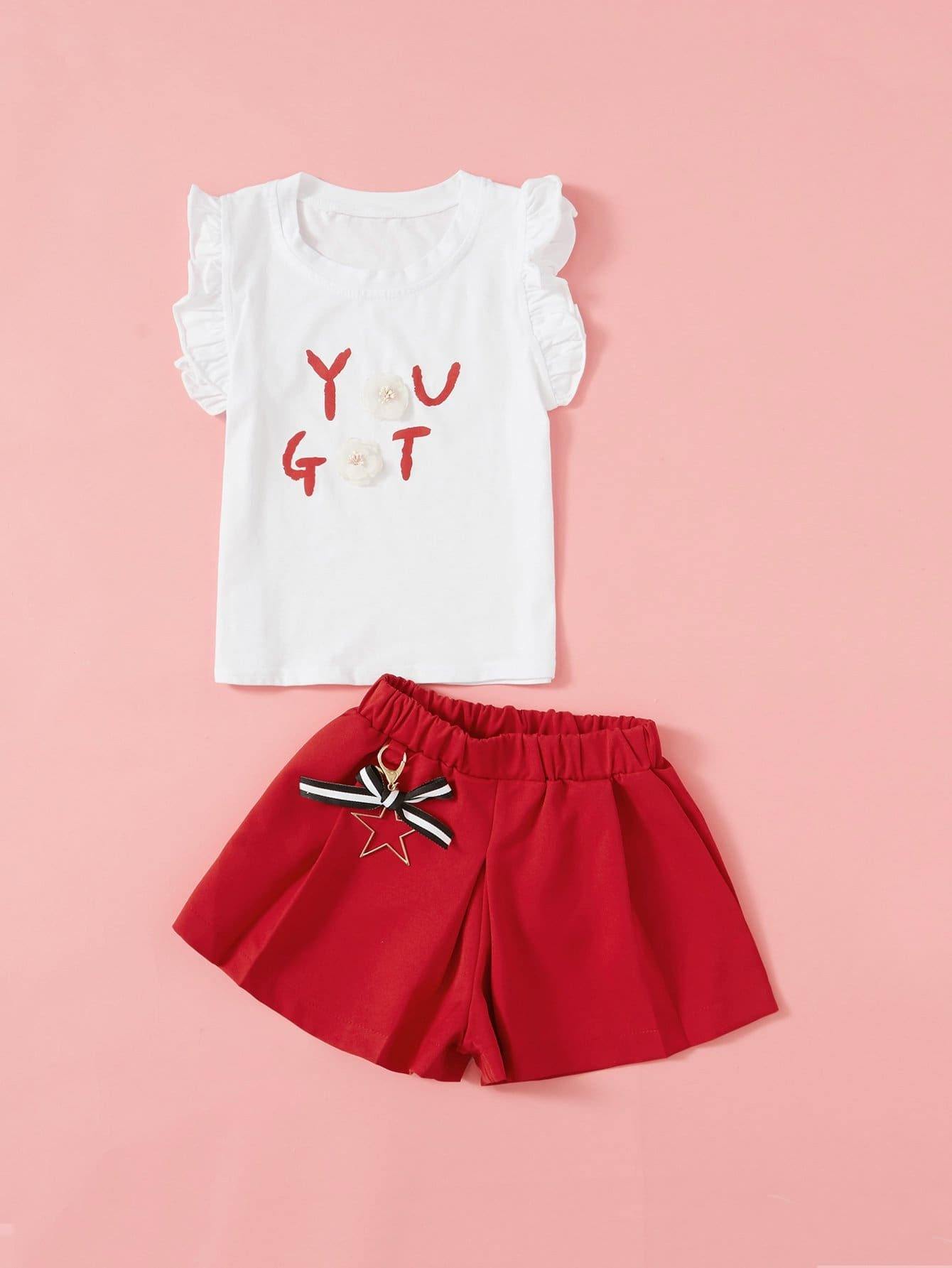 Kids Frill Trim Stereo Flowers Tee With Shorts lace trim tee with shorts