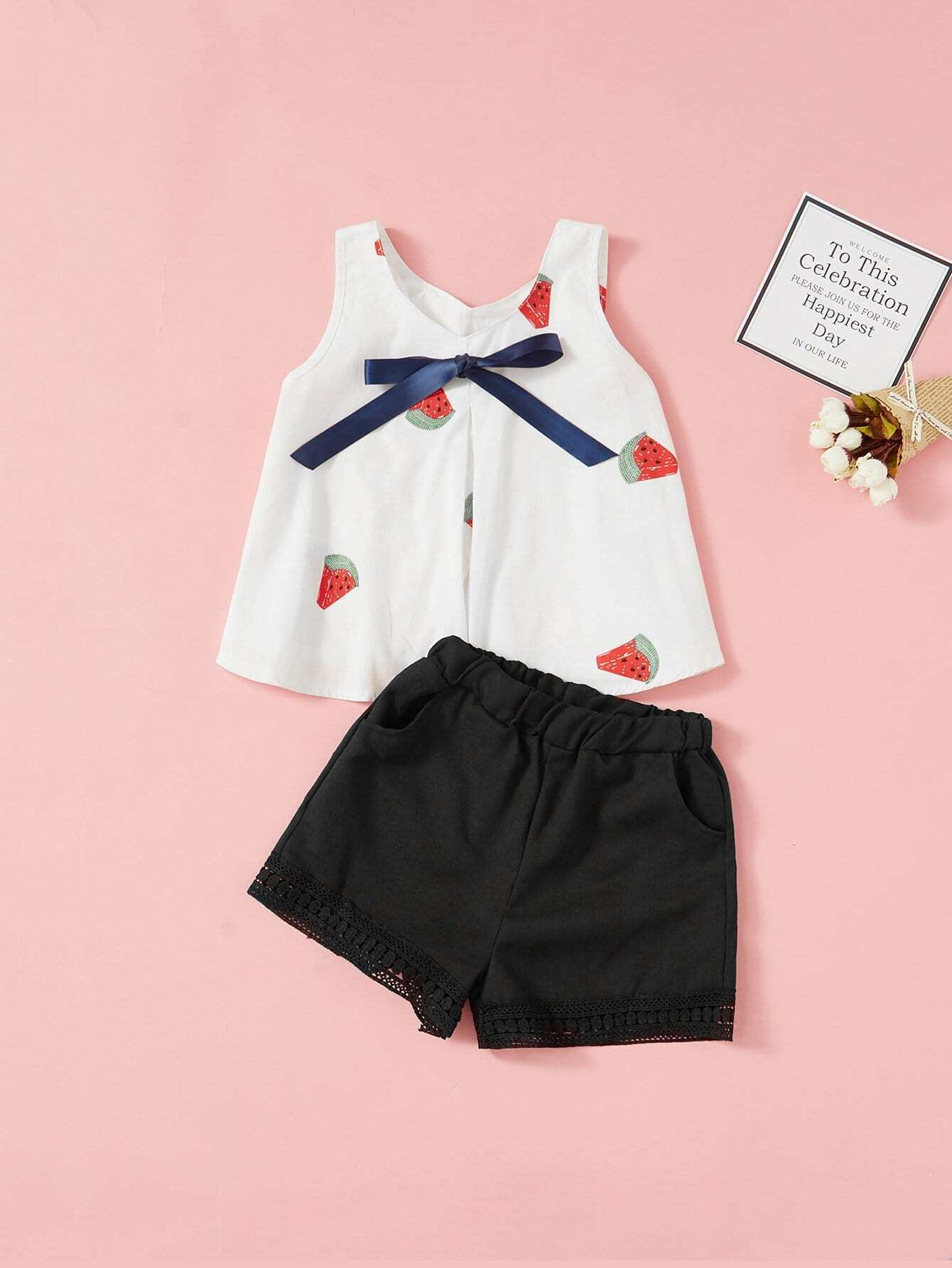 Kids Bow Detail Watermelon Print Top With Shorts kids bow detail 2 in 1 dress
