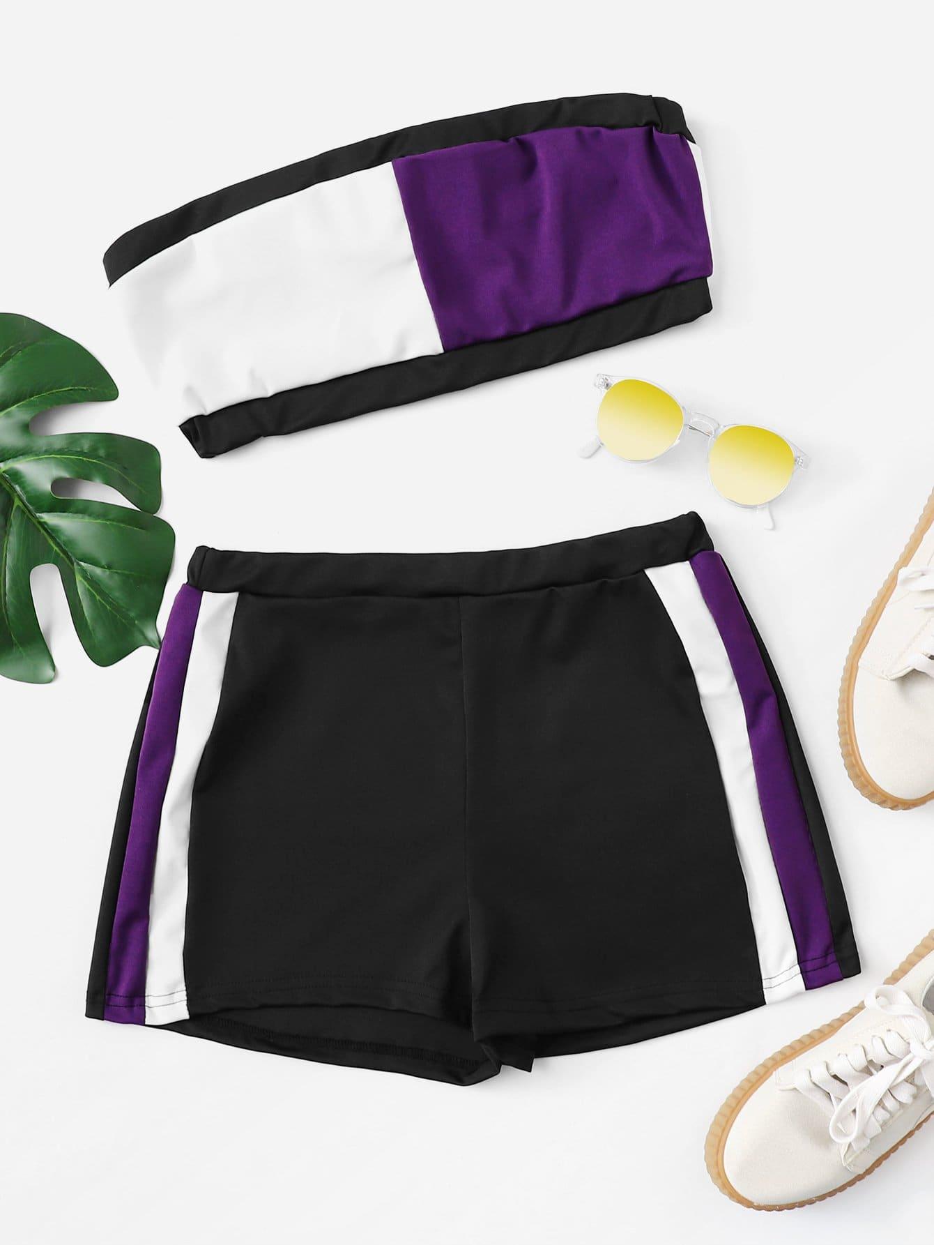 Colorblock Crop Top With Shorts black choker sleeveless crop top