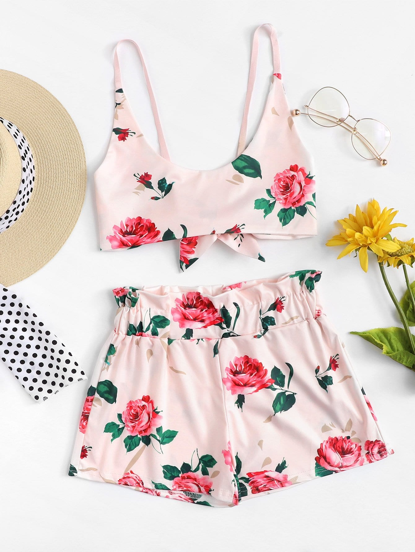 Tie Back Floral Print Crop Top With Shorts floral print crop top with shorts