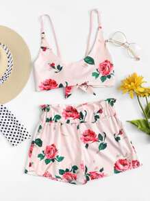 Tie Back Floral Print Crop Top With Shorts