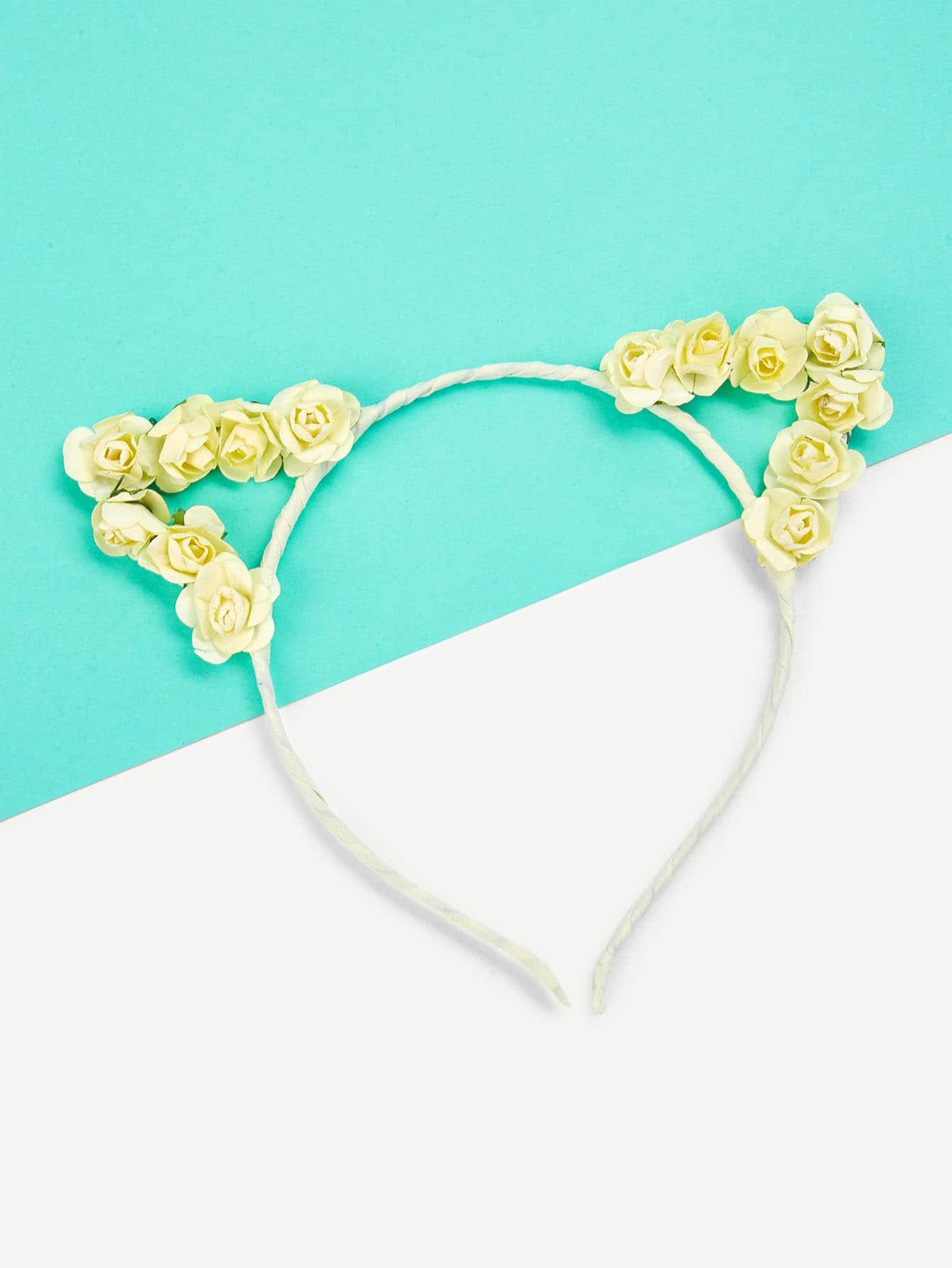 Фото Flower Embellished Cat Ear Headband