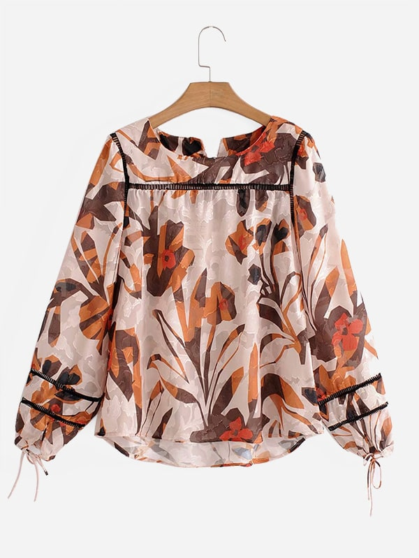 Ladder Lace Panel Leaves Print High Low Blouse ladder lace panel calico print blouse