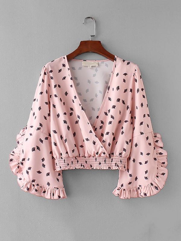 Ruffle Trim Surplice Neckline Blouse ruffle trim blouse