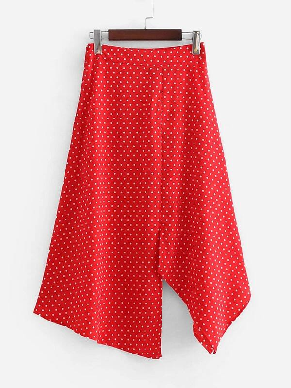 Asymmetric Hem Spot Skirt asymmetric hem spot skirt