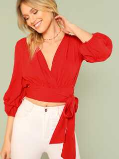 Knot Hem Surplice Wrap Crop Top