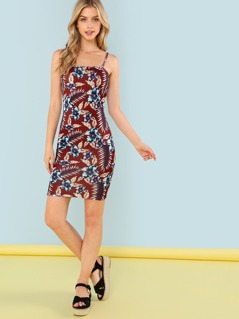Form Fitting Floral Cami Dress
