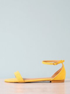 Faux Suede Single Band Ankle Strap Flat Sandal