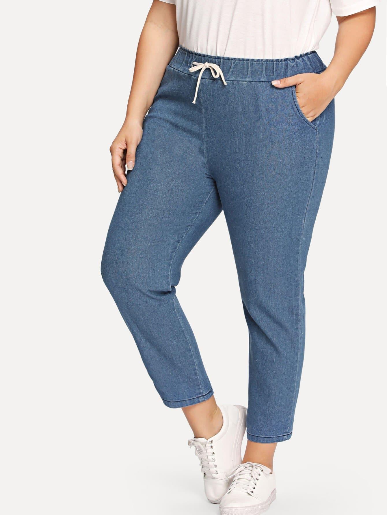 Elastic Waist Drawstring Jeans men elastic foot drawstring jeans