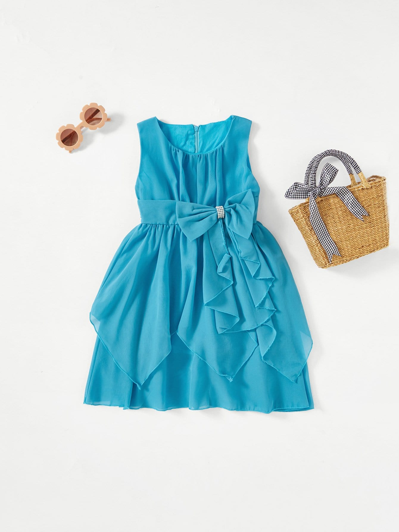 Kids Bow Detail Tiered Ball Gown kids bow detail 2 in 1 dress