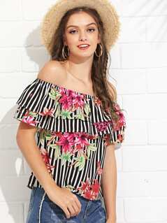 Layered Flounce Off Shoulder Floral & Striped Top