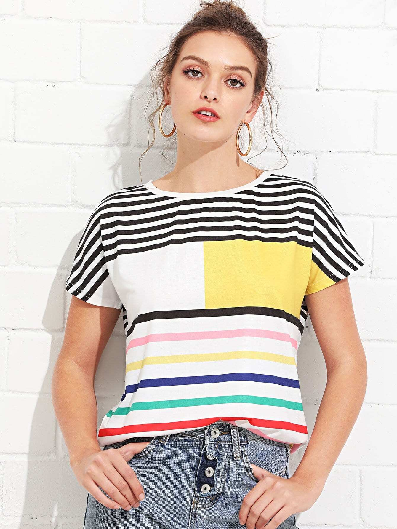 Mixed Stripe Short Sleeve T-shirt short sleeve rainbow stripe t shirt
