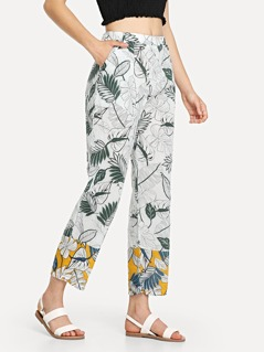 Slant Pocket Tropical Print Pants