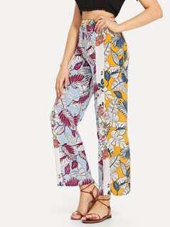 Jungle Leaf Print Colorblock Pants