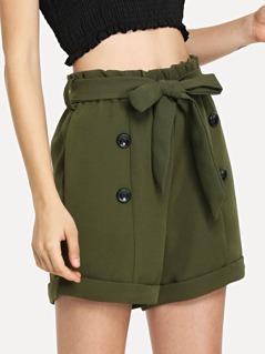 Button Embellished Rolled Up Hem Belted Shorts