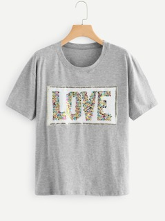 Contrast Sequin Letter Patched Tee