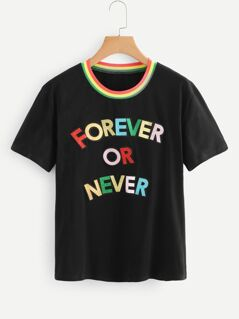Contrast Striped Letter Applique Tee