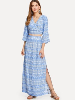 Tribal Print Knot Back Wrap Top & Slit Skirt Set