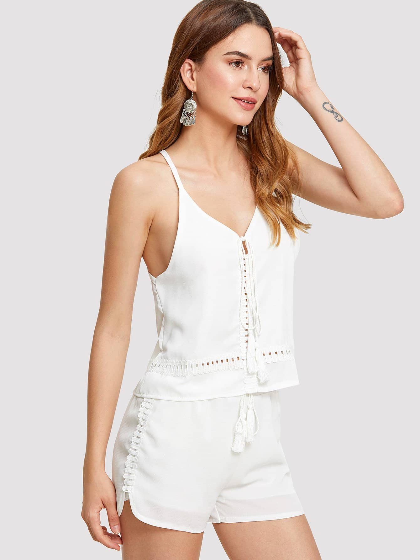 Tassel Tie Front Cut Out Detail Cami Top and Shorts Set