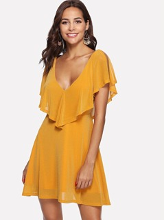 Dual V Neck Flounce Embellished Flowy Dress