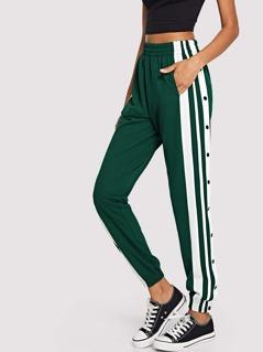 Snap Button Side Striped Pants