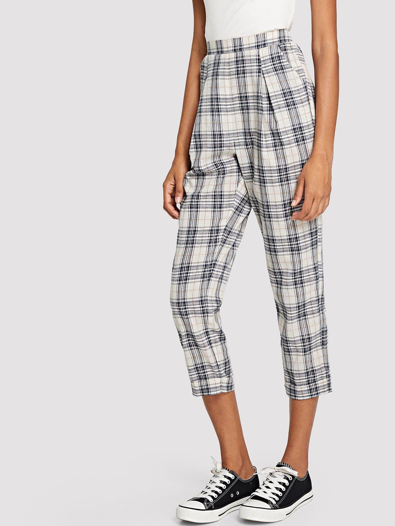 High Waist Grid Peg Leg Pants s xxl 2018 skinny slim high waist pencil pants women stretch sexy denim jeans bodycon leg split trousers