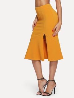 Slit Front Fishtail Hem Skirt