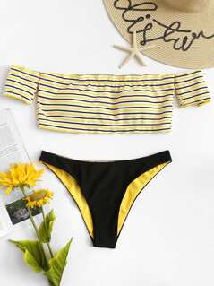 Striped Off Shoulder Top With Cheeky Bikini
