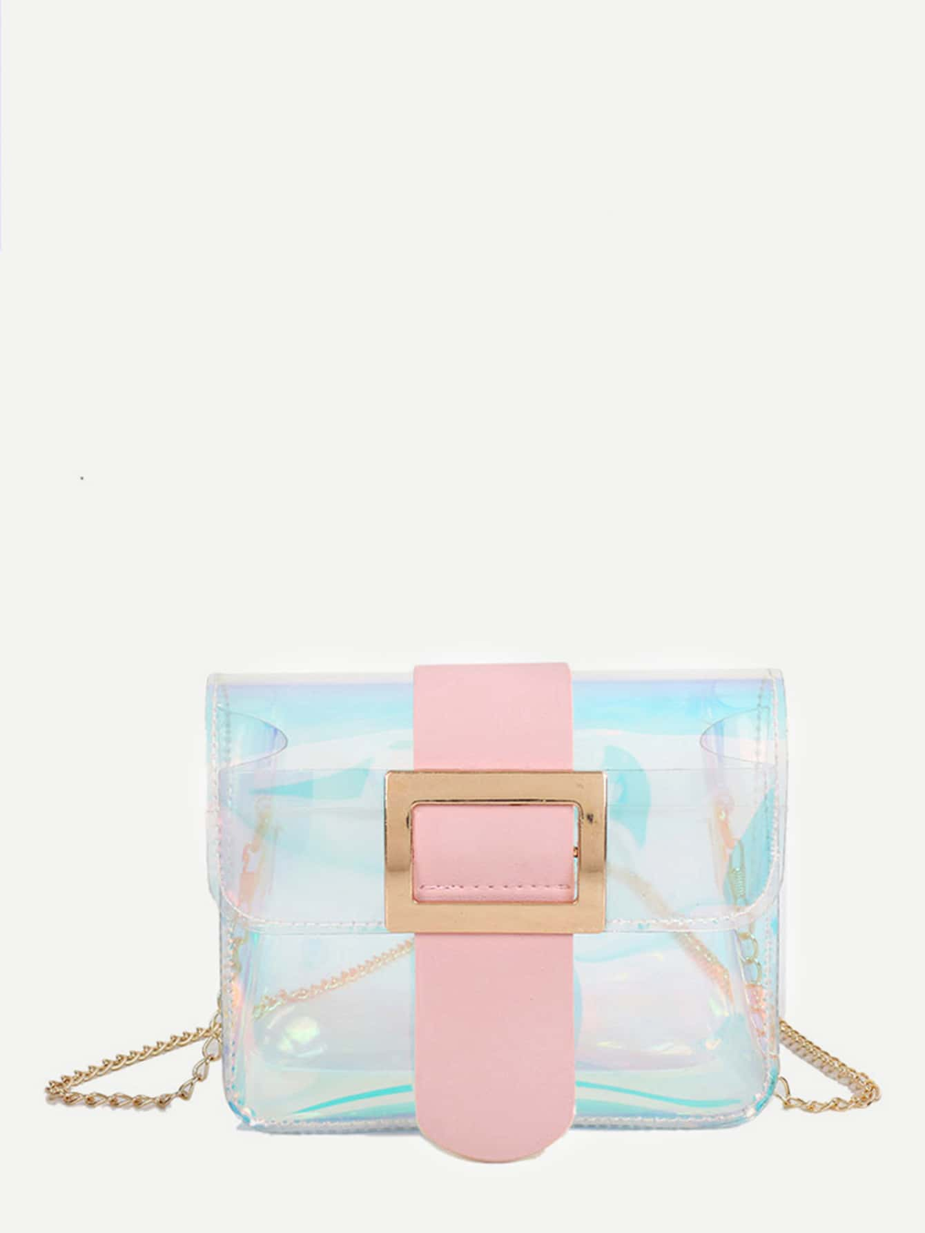 Iridescent Detail Buckle Chain Bag iridescent tote bag