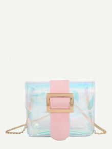 Iridescent Detail Buckle Chain Bag
