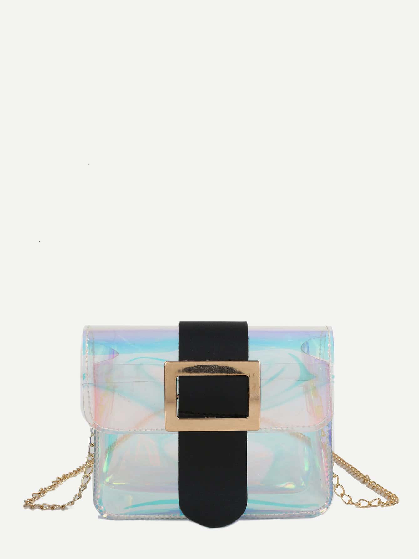 Iridescent Detail Buckle Chain Bag studded detail buckle decor chain bag