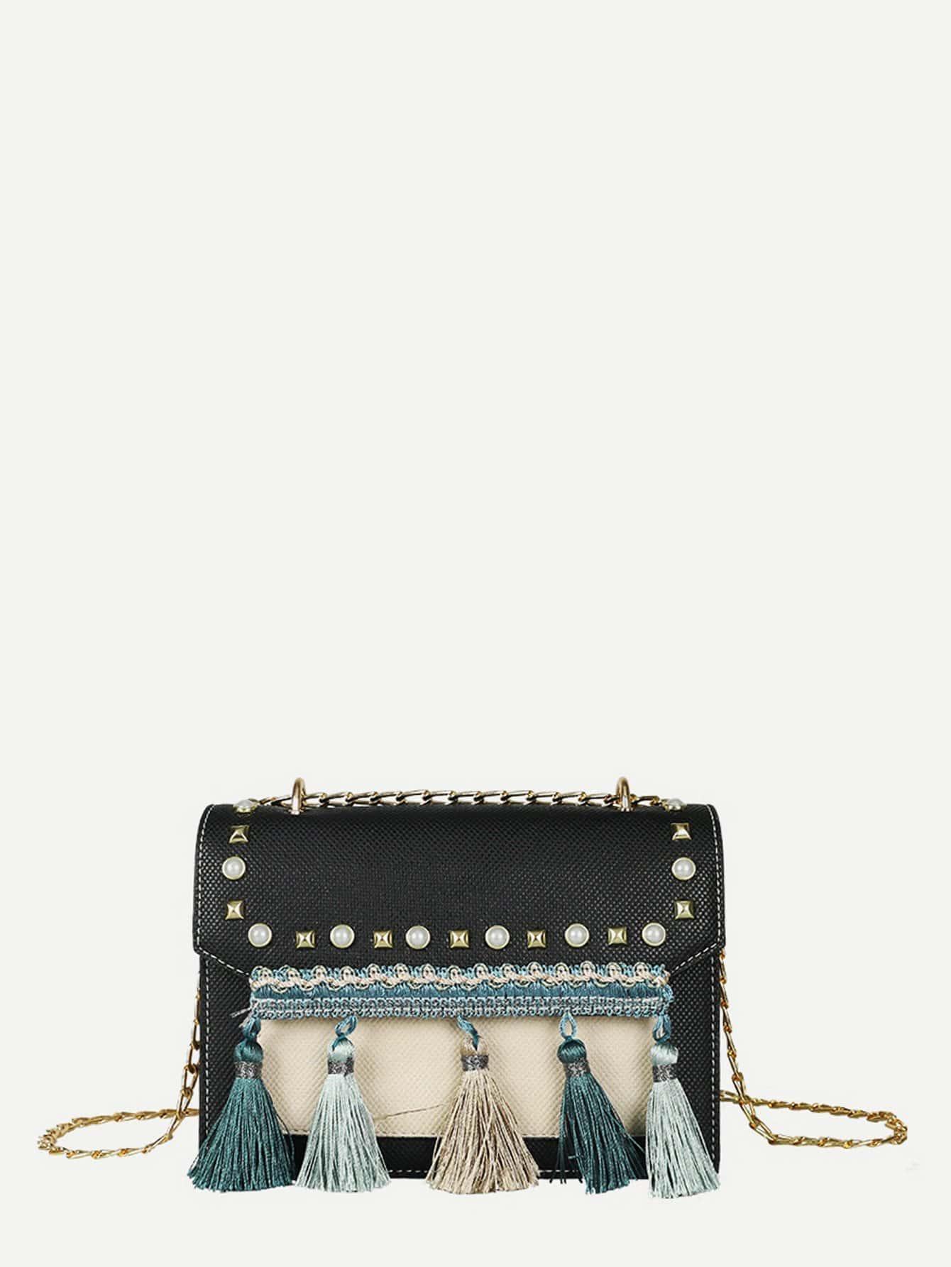 Tassel Detail Studded Chain Bag tassel detail studded chain bag
