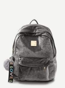 Pom Pom Decor Backpack