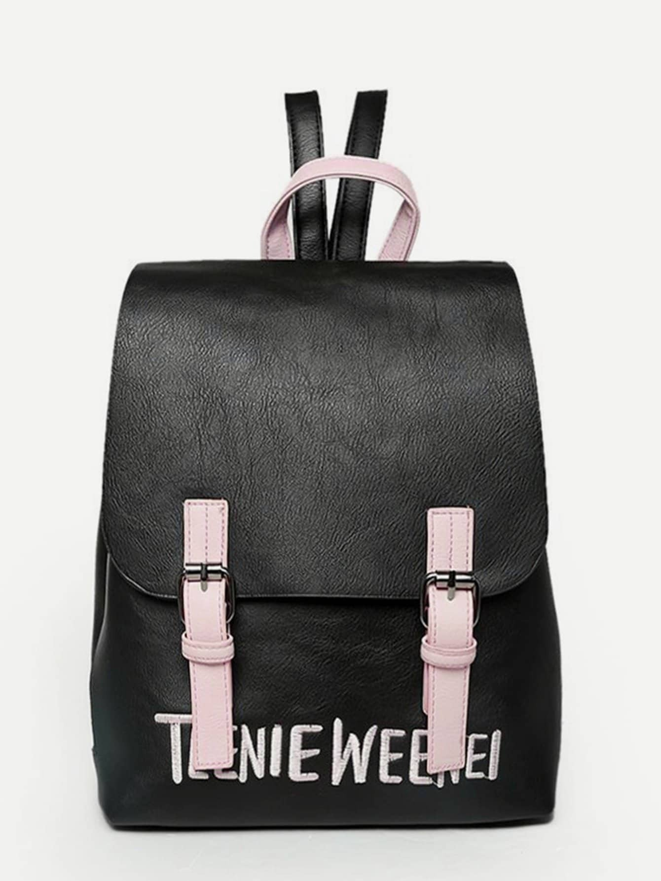 Double Buckle Letter Embroidered Backpack double buckle glitter backpack