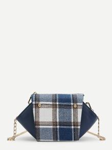 Plaid Detail Swing Chain Bag