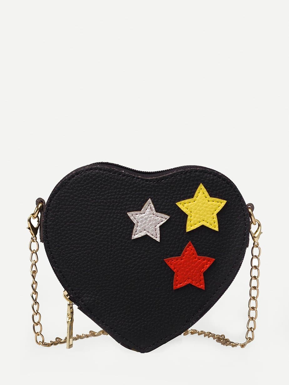 Heart Shaped Decor Star Chain Bag