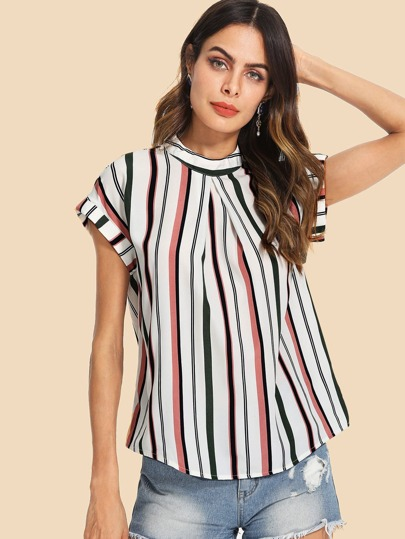 SheIn / Fold Pleat Front Striped Top