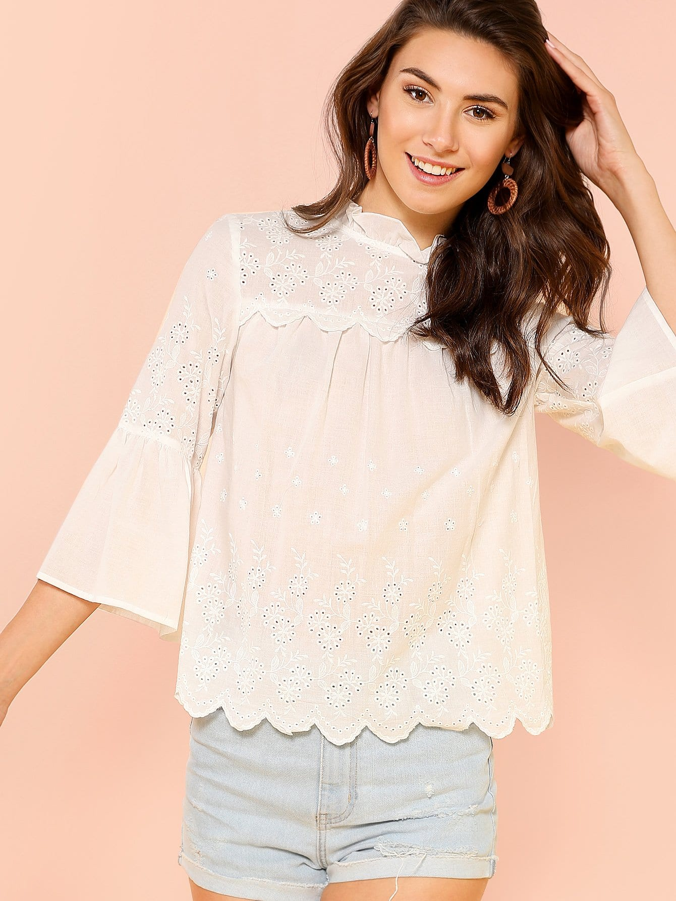 Embroidered Detail Keyhole Back Top layered fringe detail keyhole back top