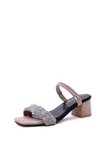 Glitter Block Heeled Convertible Sandals