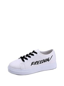 Letter Print Lace-up Sneakers